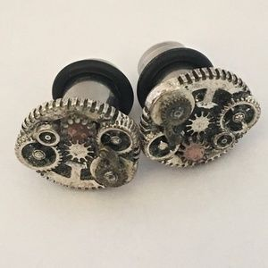 Steampunk Mechanical Gears 0 Gauge Plug Earrings
